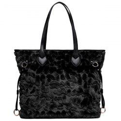 PU Leather Spliced Furry Shoulder Bag