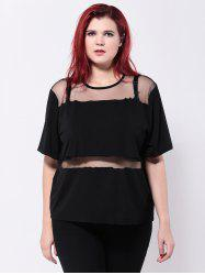 See-Through Mesh Patchwork T-Shirt -
