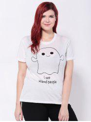 Short Sleeves Cartoon Letter Print T-Shirt