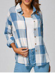 Casual Long Sleeve Checked BF Linen Shirt - LIGHT BLUE