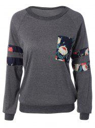 Raglan Sleeve Floral Print Sweatshirt with Pocket -
