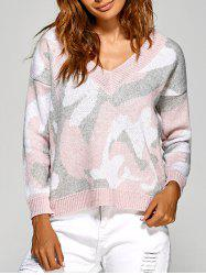 Actif V Neck Camouflage Sweater - Rose Pâle