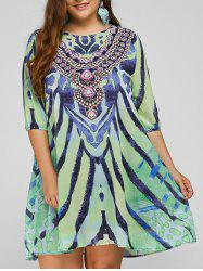 Cool Plus Size African Style Print Swing Dress - LIGHT GREEN ONE SIZE