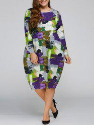 Plus Size Scrawl Cocoon Dress with Pocket