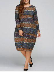 Plus Size Aztec Cocoon Dress with Pocket