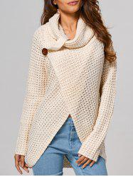 Hollow Out Front Slit Wrap Sweater - BEIGE M