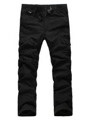 Zipper Fly Straight Leg Plastic Buckle Thicken Cargo Pants - BLACK