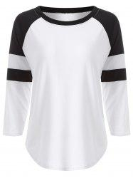 Raglan Sleeve Contrast T-Shirt - WHITE XL