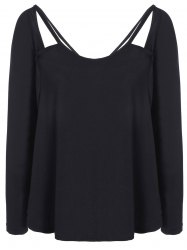 Cut Out Loose Casual T-Shirt - BLACK 2XL