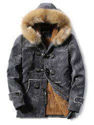 Furry Hood Horn Button Fleece Suede Coat