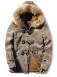 Furry Hood Horn Button Fleece Suede Coat - KHAKI XL