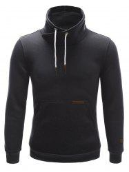 Stand Collar Drawstring PU-Leather Edging Long Sleeve Hoodie