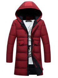 Hooded Pockets Zip-Up Lengthen Padded Coat