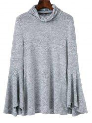 Back Slit Flare Sleeves Knitwear - GRAY