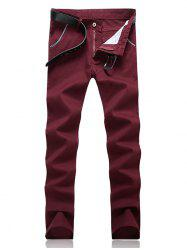 Knitting Spliced Edging Zipper Fly Narrow Feet Pants - WINE RED 33
