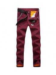 Knitting Spliced Edging Zipper Fly Narrow Feet Flocking Pants