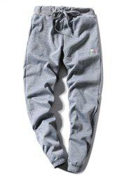 Coffee Cup Embroidered Lace-Up Beam Feet Jogger Pants - GRAY L