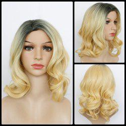 Medium Ombre Side Parting Wavy Synthetic Wig