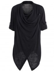 Slit Knitted Cowl Neck Asymmetric Tops - BLACK