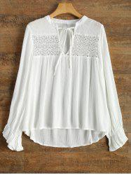V Neck Butterfly Sleeve Chiffon Spliced Blouse