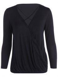 V Neck Strappy Surplice T Shirt - BLACK L