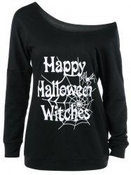 Plus Size Skew Collar Halloween Graphic T-Shirt -