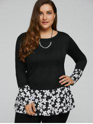 Floral Hem Plus Size Knit Top -