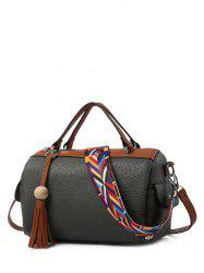 Textured Leather Tassels Colour Spliced Tote Bag