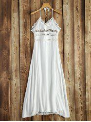 Halter Crochet Trim Backless Long Beach Dress