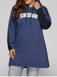 Color Block Plus Size Hooded Sweatshirt Dress