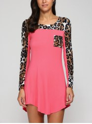 Long Sleeve Leopard Swing Mini T-Shirt Dress