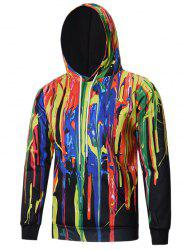 Colorful Paint Dripping Hoodie - COLORMIX L
