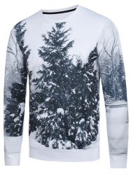 3D Trees Printed Crew Neck Sweatshirt