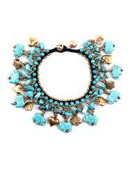 Statement Heart Fish Beads Bell Faux Turquoise Bracelet -