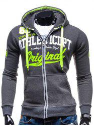Hooded Zip-Up Graphic Print Hoodie - DEEP GRAY 2XL