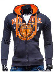Hooded Zip-Up Graphic Printed Hoodie
