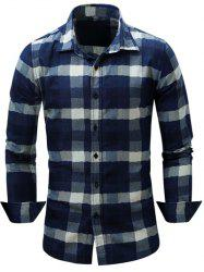 Color Block Checked Turn-Down Collar Long Sleeve Shirt
