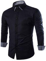 Shirt Plaid Spliced ​​Slimming manches longues - Noir M