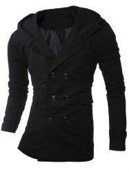 Hooded Double-Breasted Lengthen Coat -
