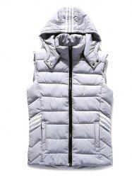 Puffer Stripe Trim Hooded Vest - GRAY 3XL