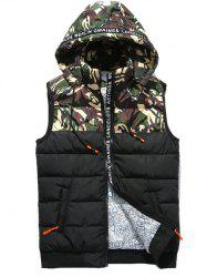 Camo Panels Puffer Hooded Vest - GREEN L