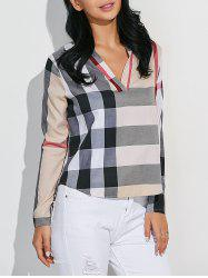 High-Low Checked Slimming Blouse -