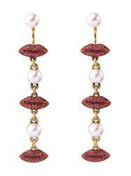 Faux Pearl Rhinestone Lips Drop Earrings -