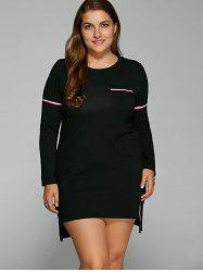 Plus Size Long Sleeve High Low Dress -