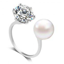 Artificial Diamond Pearl Rhinestone Wedding Engagement Ring