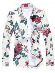 Plus Size Floral Leaves Print Long Sleeve Shirt - RED