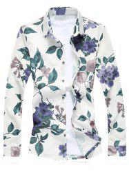 Plus Size Floral Leaves Print Long Sleeve Shirt