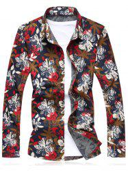 Flower Printed Plus Size Long Sleeve Shirt - RED 6XL