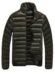 Stand Collar Zip-Up Quilted Jacket - DARK COFFEE