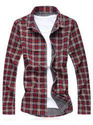 Turn-Down Collar Plus Size Checked Long Sleeve Shirt -